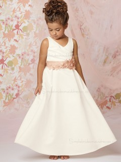 Hand Flower Satin Ivory Ankle Length Sleeveless A-line Sweetheart Flower Girl Dress
