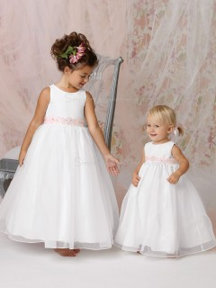 Organza Sleeveless White Floor-length Scoop A-line Beading / Sash Flower Girl Dress