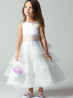 Organza Ankle Tiered / Sash Sleeveless Ivory Bateau Length A-line Flower Girl Dress