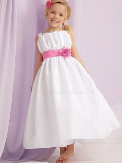 Straps Length Made Flower Ankle Ivory Sleeveless Organza Hand Flower Girl Dress