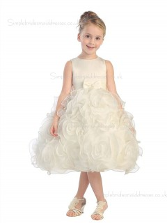 Organza Champagne Bowknot / Hand Knee-length Sleeveless Scoop Flower A-line Made Flower Girl Dress