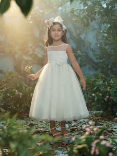 Ivory Made Tea-length Bateau Organza Sequin / Hand Flower Sleeveless A-line Flower Girl Dress