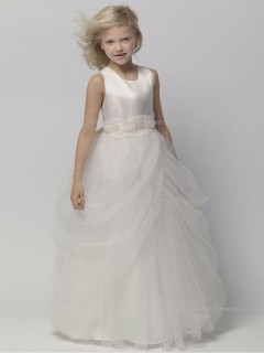 Applique / Tiered Gray Sleeveless A-line Floor-length Organza Scoop Flower Girl Dress