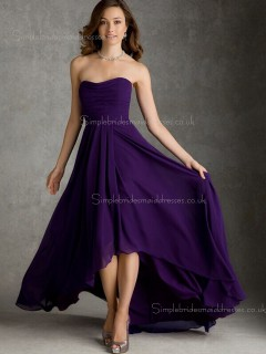 Draped Sleeveless A-line Bateau Zipper Natural Regency Sweep Chiffon Bridesmaid Dress