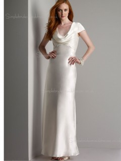 Elastic Silk-like Satin Zipper High Neck Floor-length Empire Cap Sleeve Champagne Split A-line Bridesmaid Dress