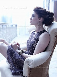 Zipper Dropped Bateau Applique Black Mini Short-length Sleeveless Lace Bridesmaid Dress
