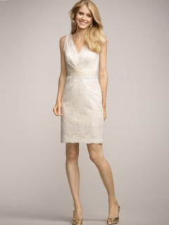 Column Sheath Sleeveless Sash/Applique V-neck Natural Short-length Zipper Lace Ivory Bridesmaid Dress