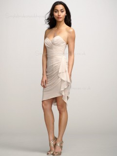 Dropped Ruffles Sweetheart Chiffon Short-length Backless Sleeveless Column Sheath Indy Pink Bridesmaid Dress
