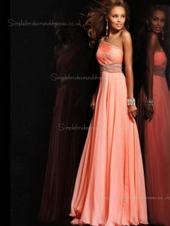 Orange Beading Sleeveless Chiffon One Shoulder A-line Zipper Floor-length Empire Bridesmaid Dress