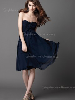 Knee-length Bateau Zipper Chiffon Flowers Dark Navy A-line Empire Sleeveless Bridesmaid Dress