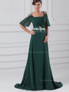 Chiffon Sweep Dark Green Zipper Bateau A-line Beading Cap Sleeve Dropped Bridesmaid Dress
