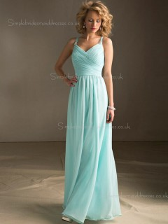 Floor-length A-line V-neck Zipper Beading Dropped Sleeveless Chiffon Blue Bridesmaid Dress