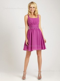 Sleeveless Empire Zipper Lilac Bateau Draped Chiffon Short-length A-line Bridesmaid Dress