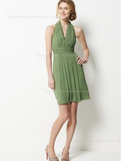 Sleeveless Zipper Halter A-line Chiffon Sage Draped/Sash Short-length Empire Bridesmaid Dress