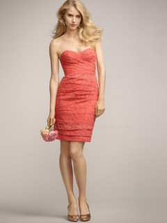 Applique/Ruched Sleeveless Short-length Natural Column Sheath Elastic Satin Watermelon Zipper Sweetheart Bridesmaid Dress