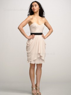 Chiffon Zipper Champagne A-line Knee-length Bateau Draped/Sash Sleeveless Dropped Bridesmaid Dress