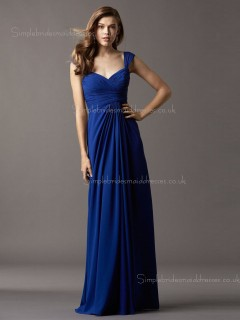 Empire Chiffon Royal Blue Column Sheath Draped Sleeveless Floor-length V-neck Zipper Bridesmaid Dress