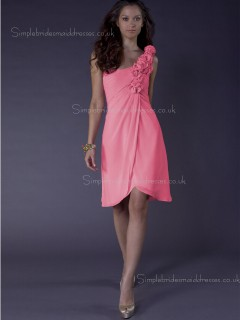 Zipper Flowers/Ruffles Knee-length A-line Sleeveless Chiffon Watermelon One Shoulder Empire Bridesmaid Dress