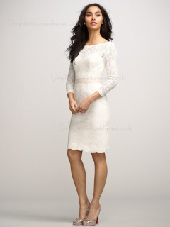 Zipper Applique Natural Knee-length Champagne Short Sleeve Column Sheath Lace Bateau Bridesmaid Dress