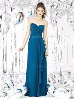 Empire Ruffles/Tiered Column Sheath Sweetheart Sleeveless Chiffon Hunter Knee-length Zipper Bridesmaid Dress