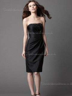 Black Sleeveless Empire Bateau Satin Knee-length Column Sheath Draped Zipper Bridesmaid Dress