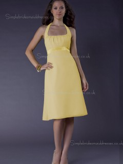 A-line Daffodil Satin Sash Zipper Bateau Empire Sleeveless Knee-length Bridesmaid Dress