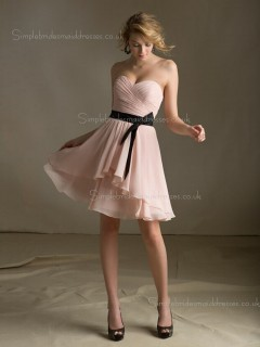Chiffon A-line Zipper Tiered/Belt Sweetheart Dropped Sleeveless Knee-length Indy Pink Bridesmaid Dress
