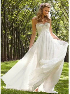 Sweetheart Ivory Beading / Ruffles A-line Sweep Sleeveless Chiffon Wedding Dress