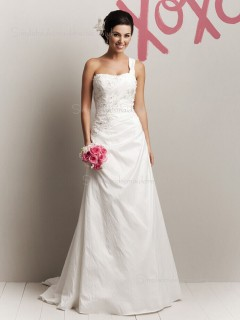 Sweep Sleeveless One Applique / Beading Ivory Shoulder A-line Taffeta Wedding Dress