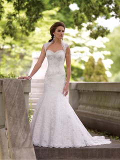 Ivory Chapel Satin Applique / Lace Sleeveless Sweetheart Chiffon Mermaid Wedding Dress