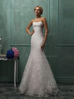 Bateau Organza Mermaid Sweep Sleeveless Ivory Applique Wedding Dress
