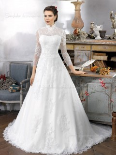 White Neck Sleeve A-line Long Chapel Applique High Lace Wedding Dress