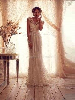 Applique / Bowknot Lace Ivory Cathedral Column / Sheath Sweetheart Cap Sleeve Wedding Dress