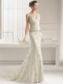 Ivory Sweep Lace Sleeveless Applique / Beading Mermaid V-neck Wedding Dress
