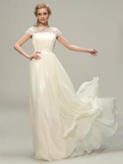 Elegant Best A-Line Long Lace Bateau Neck Short Sleeve Bridesmaid Dress