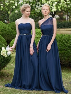 Online Celebrity One Shoulder A Line Beaded Long Natural Waist Bridesmaid Dress