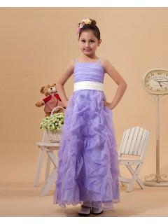 Ankle Length Sleeveless Column/Sheath Spaghetti Straps Satin/Organza Lilac Zipper Ruffles Flower Girl Dress