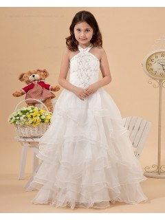 A line Halter Sleeveless Satin/Organza Ivory Embroidery/Ruffles Zipper Floor length Flower Girl Dress