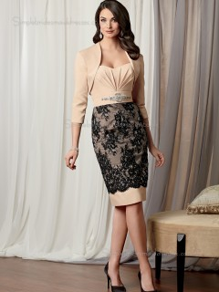 Champagne Satin Sweetheart Sleeveless Empire Column / Sheath Zipper Lace Knee-length Mother of the Bride Dress