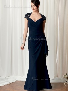 Dark Navy Chiffon Natural Backless V-neck Beading Mermaid Floor-length Cap Sleeve Mother of the Bride Dress