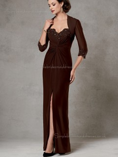Brown V-neck Floor-length Zipper Column / Sheath Chiffon Beading Half-Sleeve Empire Mother of the Bride Dress