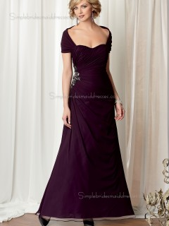 Grape A-line Cap Sleeve Natural Floor-length Chiffon Sweetheart Zipper Beading Mother of the Bride Dress