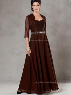 Burgundy A-line Sweetheart Beading Zipper Floor-length Half-Sleeve Natural Chiffon Mother of the Bride Dress