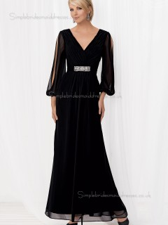 Black Mermaid Chiffon Sleeve Long Floor-length V-neck Backless Empire Beading Mother of the Bride Dress