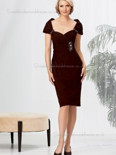 Grape Zipper Natural Cap Sleeve Column / Sheath Knee-length Beading Sweetheart Chiffon Mother of the Bride Dress