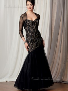 Black Floor-length Natural Organza Mermaid Zipper Sweetheart Lace Sleeveless Mother of the Bride Dress