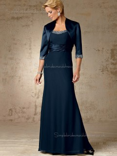 Ink Blue Chiffon A-line Beading Bateau Zipper Floor-length Half-Sleeve Empire Mother of the Bride Dress