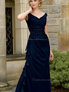 Dark Navy Natural Beading Cap Sleeve Chiffon V-neck Zipper Floor-length A-line Mother of the Bride Dress
