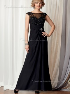 Black A-line Cap Sleeve Zipper Beading Chiffon Floor-length Bateau Natural Mother of the Bride Dress