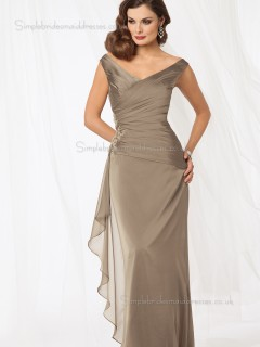 Brown Ruched Column / Sheath Chiffon Zipper V-neck Natural Floor-length Cap Sleeve Mother of the Bride Dress